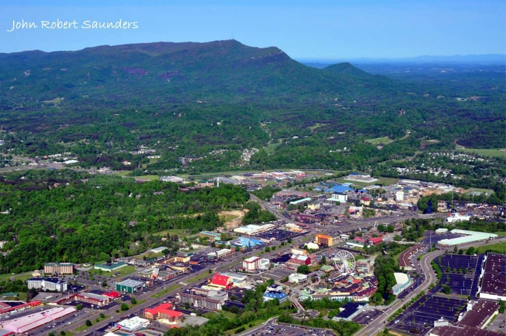 Aerial shot over Pigeon Forge